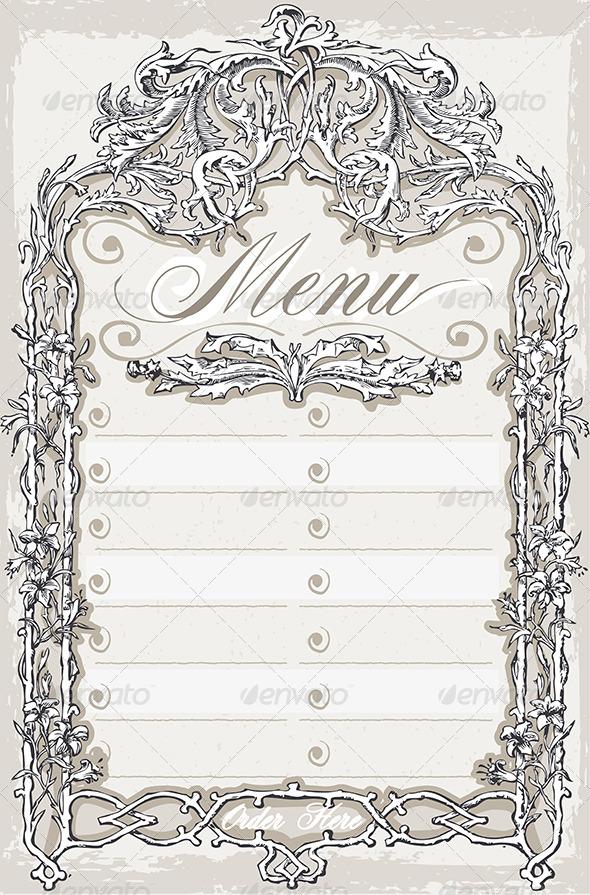 Vintage Graphic Page for Bar or Restaurant Menu - Decorative Vectors