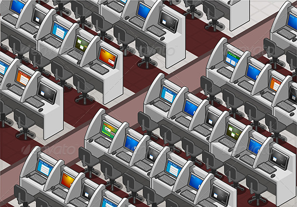 Isometric Call Center Office - Objects Vectors