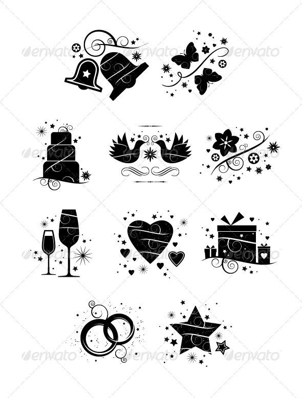 Ornate Wedding Icons –Pack of 10 - Weddings Seasons/Holidays