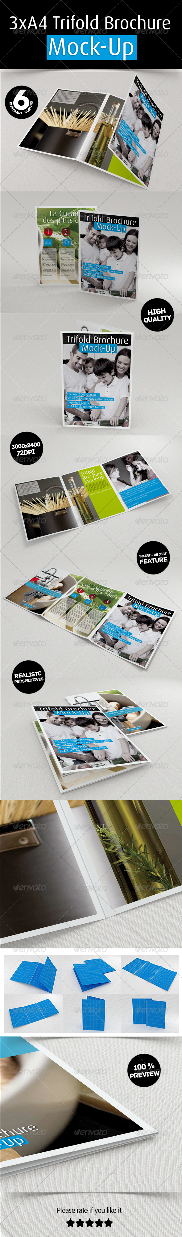 3xA4 Trifold Brochure Mockup - Product Mock-Ups Graphics