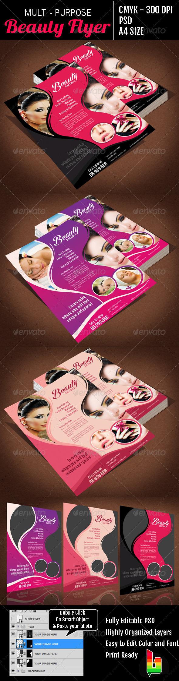 Multi Purpose Beauty Flyer - Flyers Print Templates