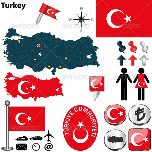 Map of Turkey - Travel Conceptual