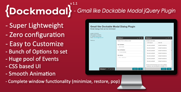 Dockmodal -Gmail like Dockable Modal Dialog Plugin - CodeCanyon Item for Sale