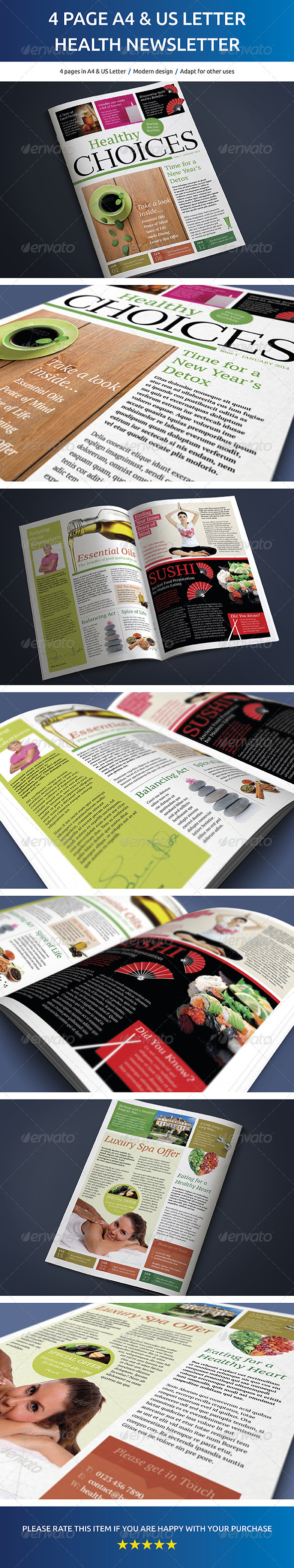 4 Page A4 and US Letter Healthy Living Newsletter - Newsletters Print Templates