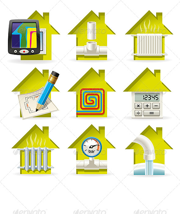 Heating Home Icons - Technology Conceptual