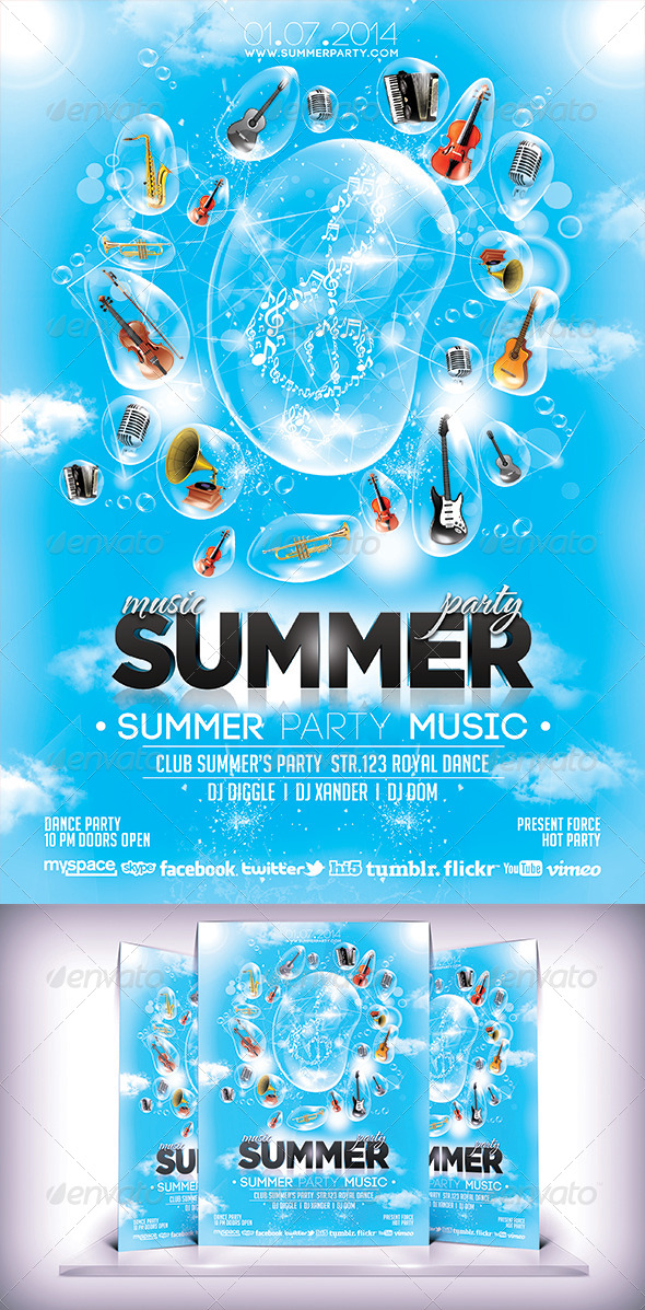 Summer Musical Party Flyer - Flyers Print Templates