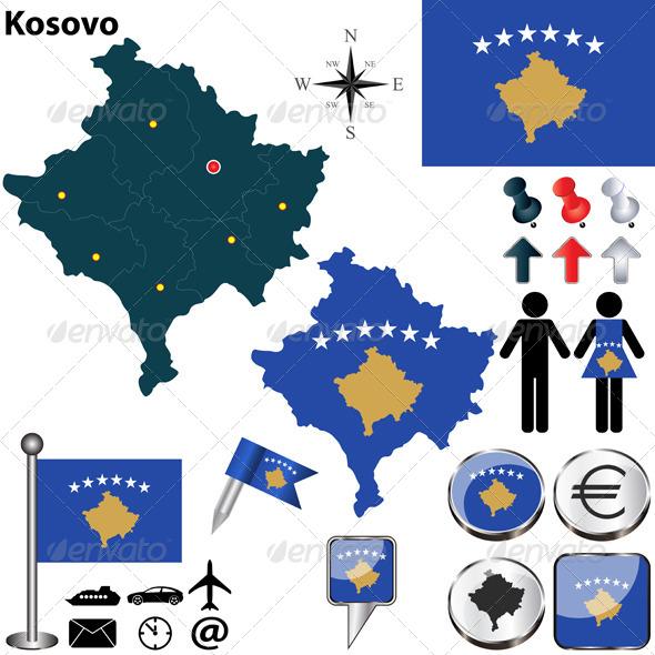 Map of Kosovo - Travel Conceptual