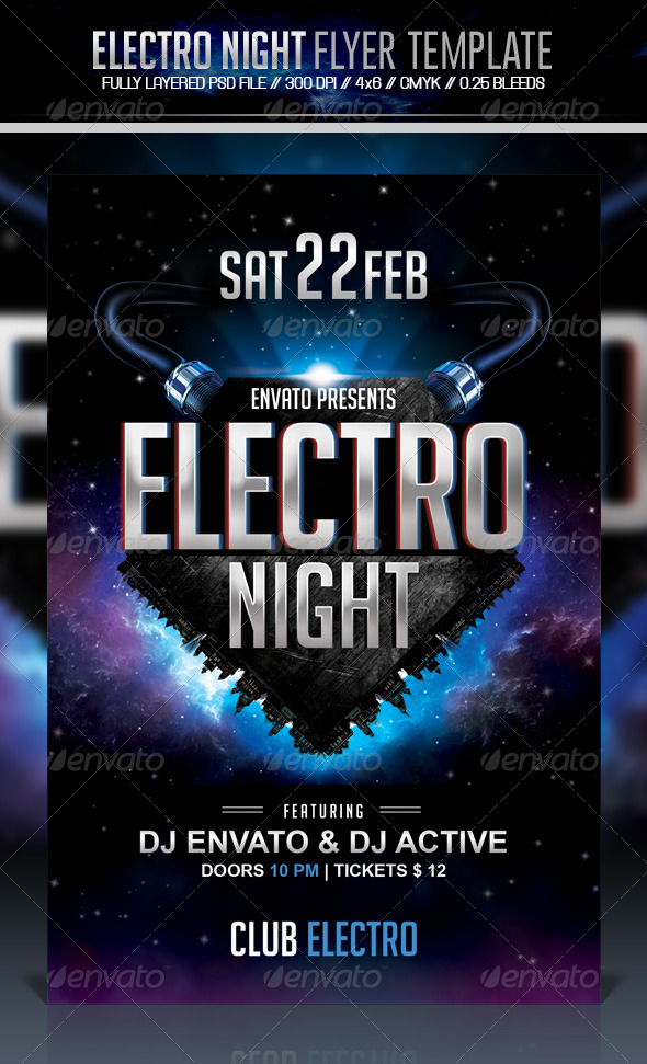 Electro Night Flyer - Clubs & Parties Events