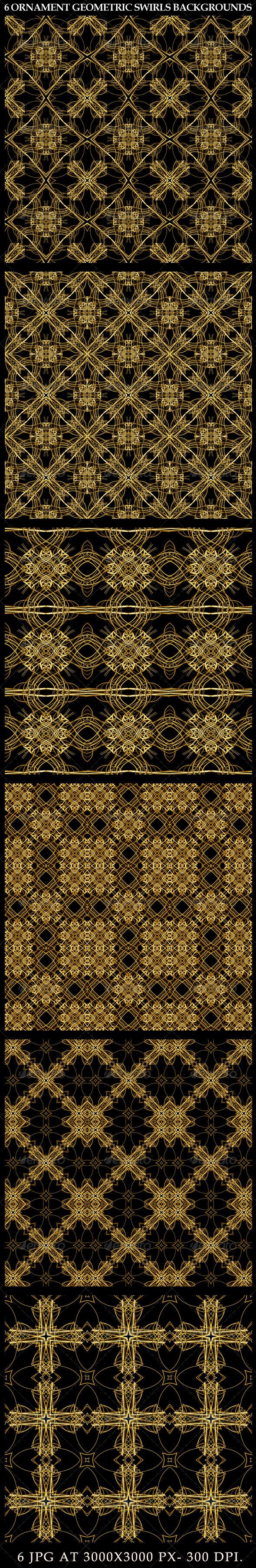 6 Ornament Geometric Swirls Backgrounds - Patterns Decorative