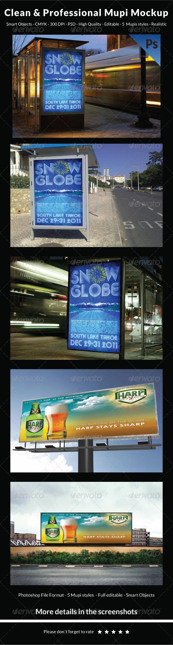 Clean & Professional Mupi Mockup - Signage Print