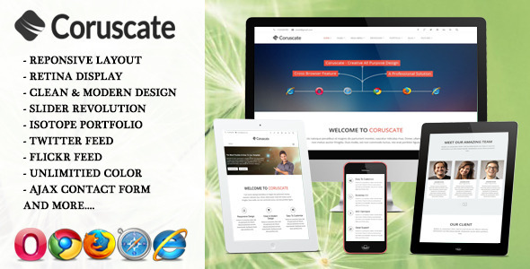 Coruscate – Multi-Purpose Responsive HTML Template
