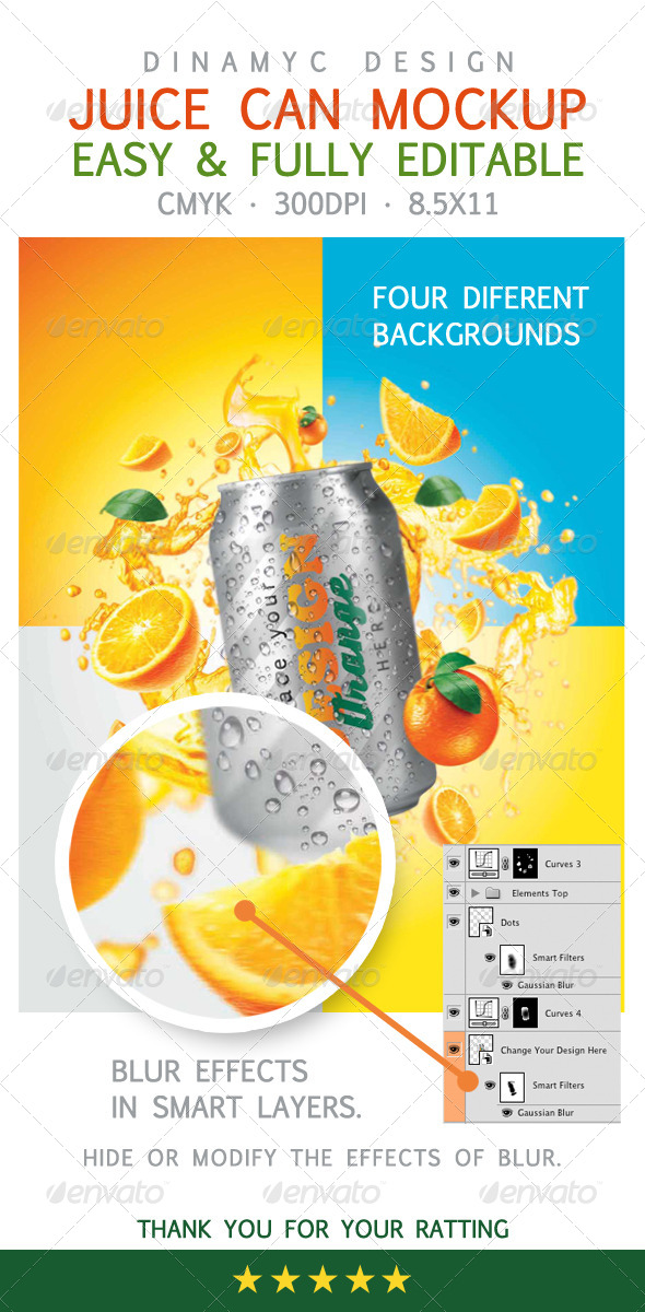 Design for Orange Juice with Mockup Tin Can - Food and Drink Packaging
