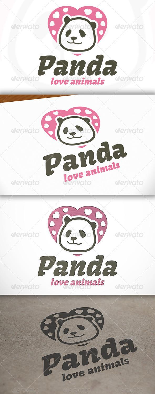 Panda Love Logo - Animals Logo Templates