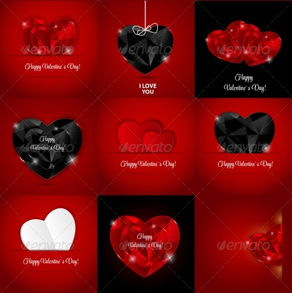 Set of Happy Valentines Day Cards with Heart - Computers Technology