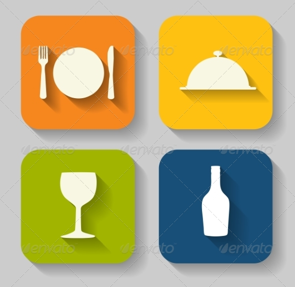 Modern Flat Food Icon Set for Web or Mobile Application - Computers Technology