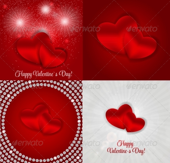 Happy Valentines Day Card with Hearts - Computers Technology