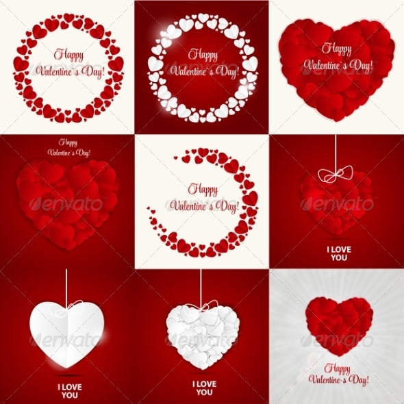 Set of Happy Valentines Day Card with Hearts - Computers Technology