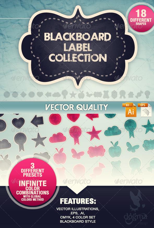 Blackboard Vector Labels Collection - Decorative Vectors
