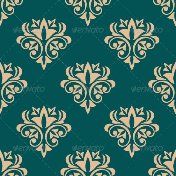 Green Retro Floral Wallpaper Design - Patterns Decorative