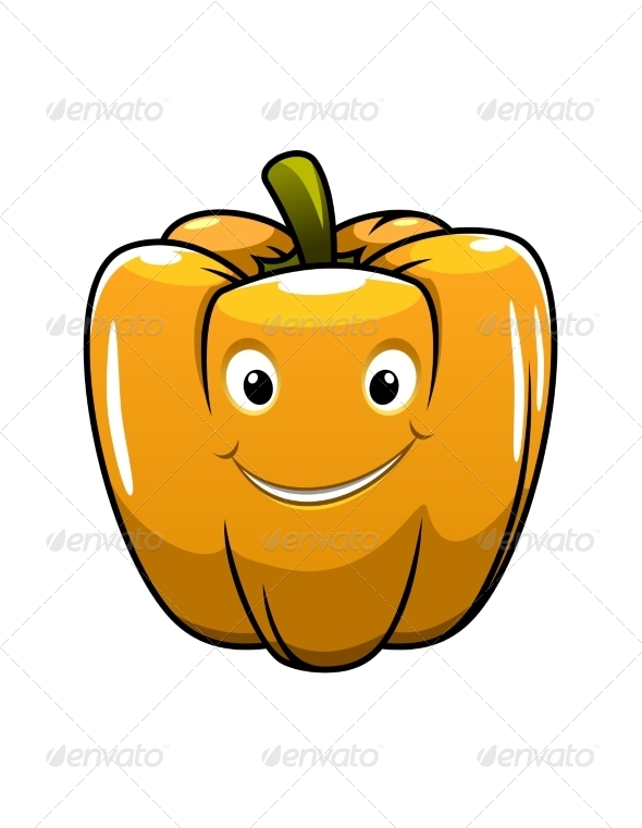 Smiling Orange Cartoon Pepper - Miscellaneous Characters