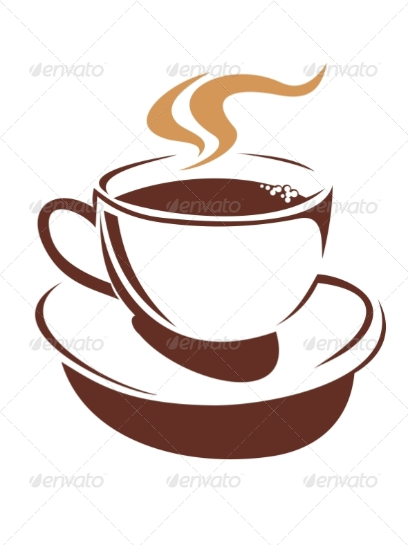 Hot Cup of Steaming Coffee or Tea - Food Objects