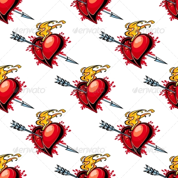 Flaming Red Heart Pierced by an Arrow - Patterns Decorative