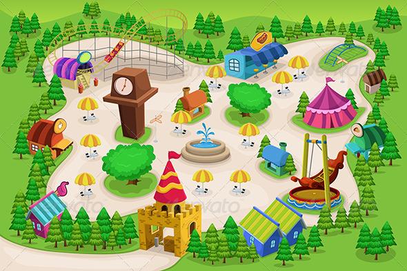 Amusement Park Map - Objects Vectors