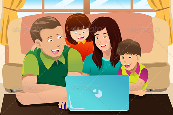 Happy Family Looking at a Laptop - People Characters