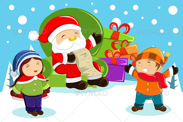 Santa Claus Carrying Present Bags  - Christmas Seasons/Holidays