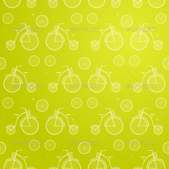 Vintage Bicycle Seamless Vector Background - Sports/Activity Conceptual