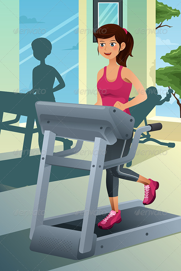 Woman Running on a Treadmill in a Gym - Sports/Activity Conceptual