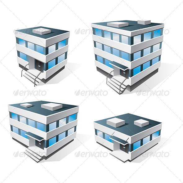 Four Office Buildings Cartoon Icons - Buildings Objects