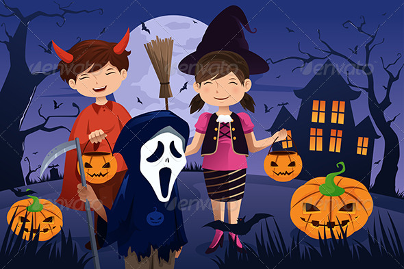 Kids Dressed Up in Costumes Trick or Treating - Halloween Seasons/Holidays