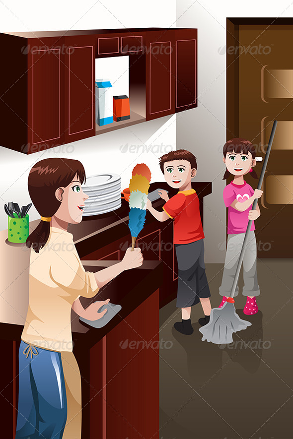 Kids Helping their Parent Cleaning House - People Characters