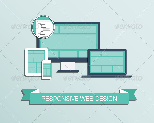 Responsive Web Design Flat Style Icons - Computers Technology