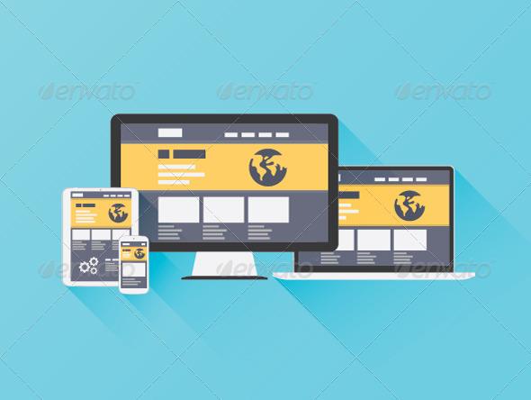 Flat Illustration of Website Coding - Web Technology