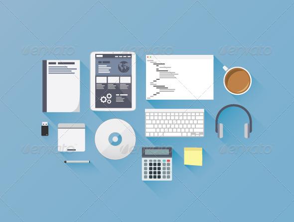 Flat Web Development Coding Icon Set - Web Technology