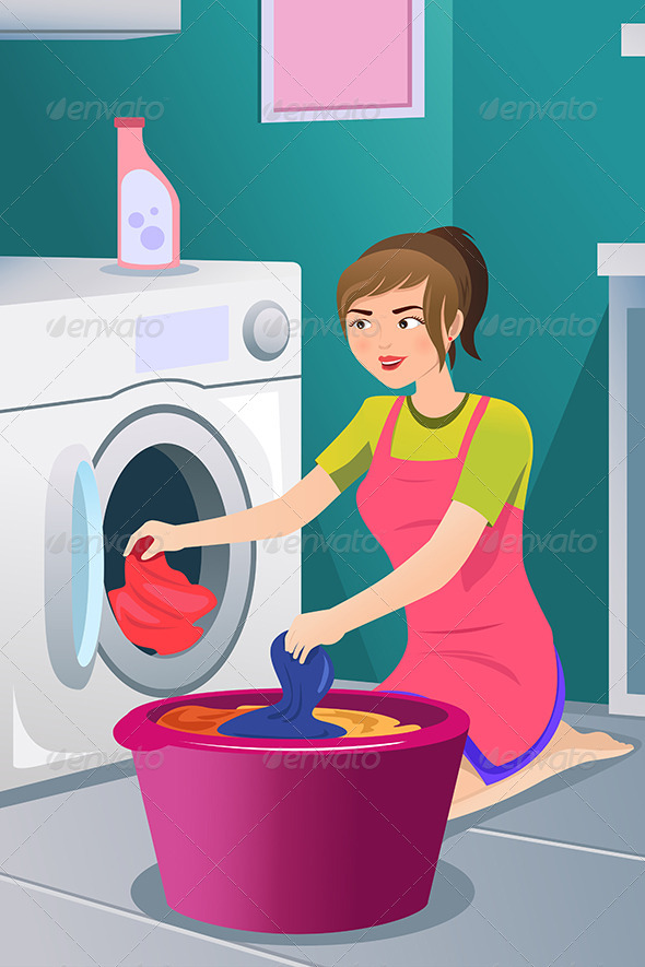 Housewife doing Laundry - People Characters