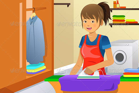 Housewife Ironing - People Characters
