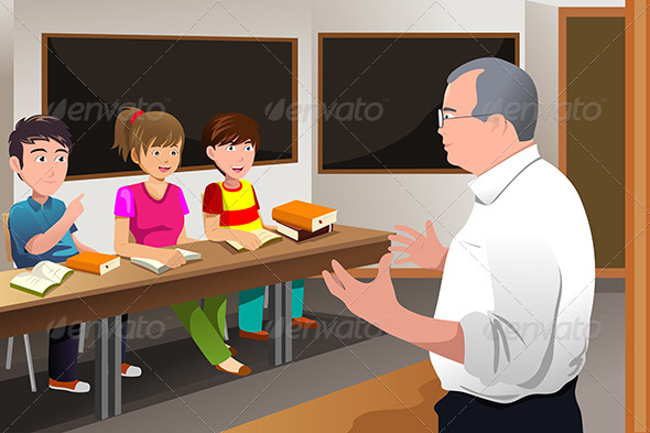 Teacher Teaching College Students - People Characters