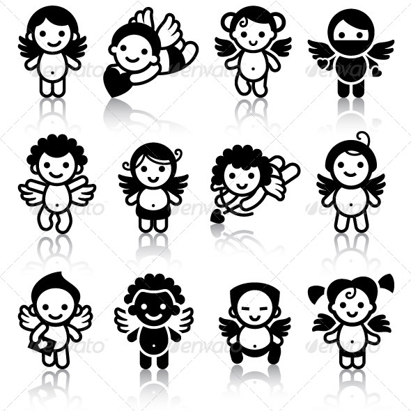 Cupids, Black Icons with Reflection - Icons