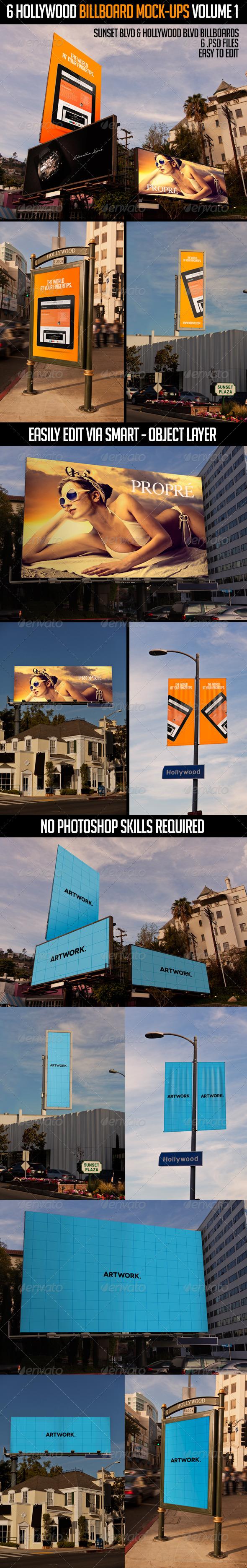 6 Hollywood Billboard Mock-Ups Volume 1 - Signage Print