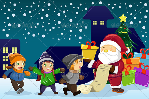 Santa Claus Carrying Present and Holding List - Christmas Seasons/Holidays