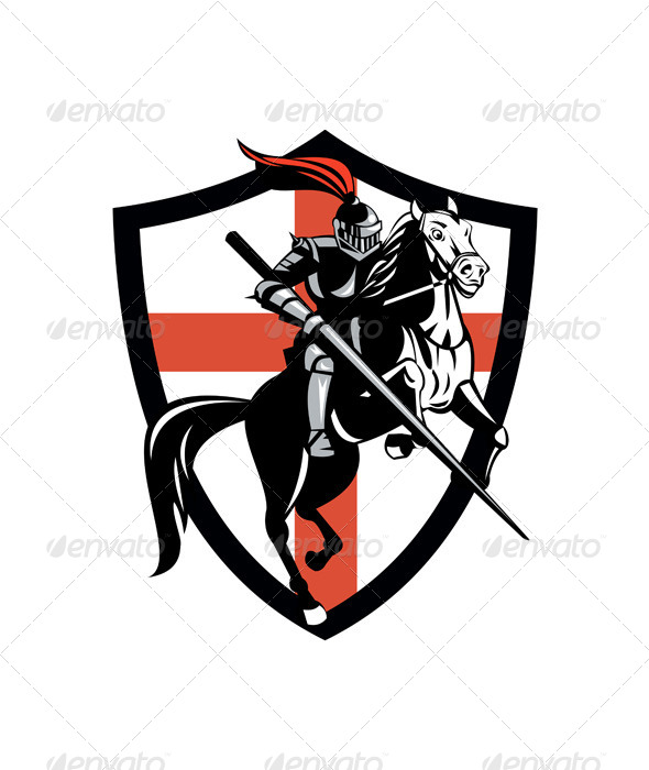 English Knight Riding Horse England Flag Retro - People Characters
