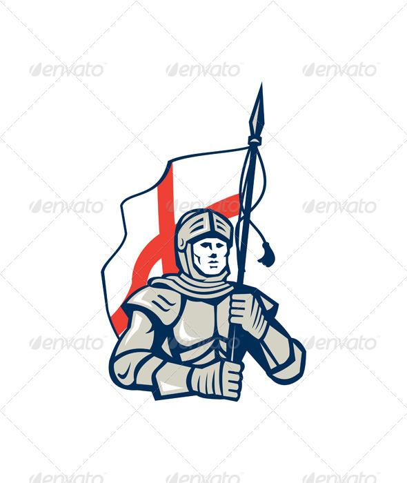 English Knight England Flag Retro - People Characters