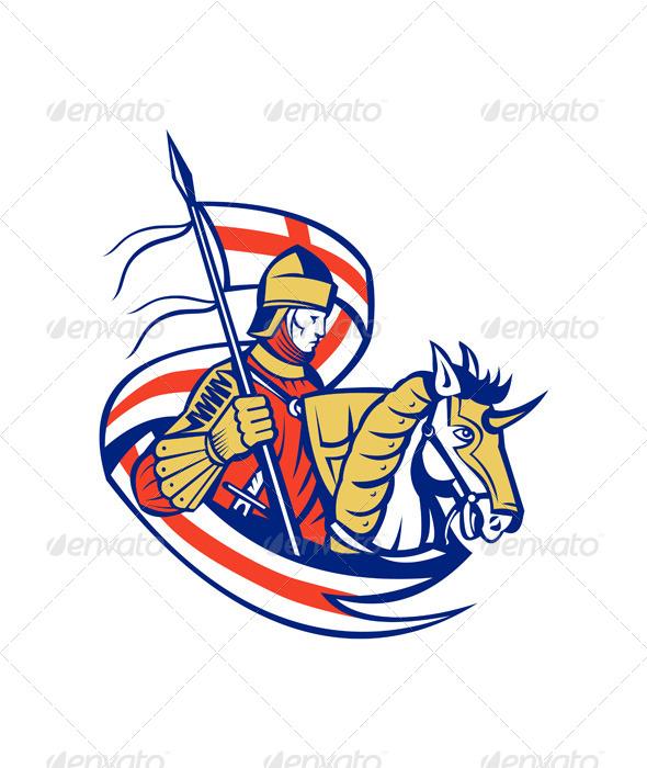 English Knight England Flag Shield Horse Retro - Characters Vectors