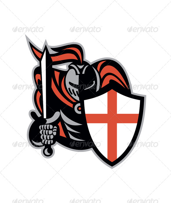 English Knight with Sword Retro Shield  - People Characters