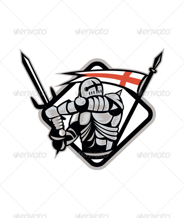 English Knight Fighting Sword England Flag Retro - People Characters