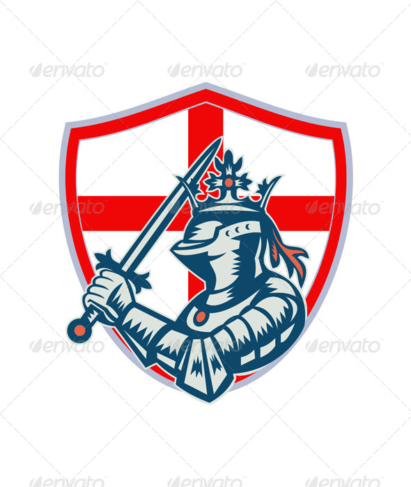 English Knight Full Armor With Sword Retro - People Characters
