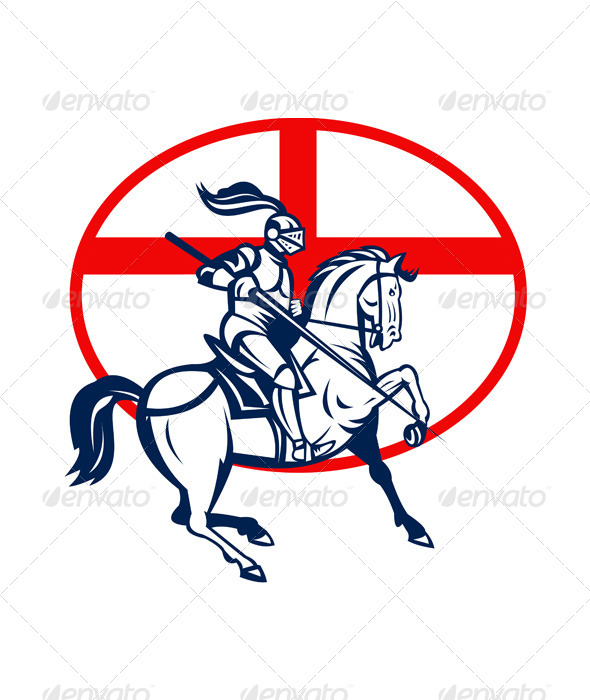 English Knight Riding Horse England Flag Circle - People Characters